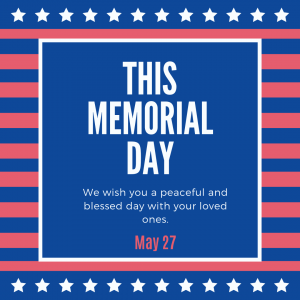 May 27 is Memorial Day