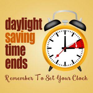 November 3 – Daylight Saving Time Ends