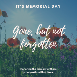 It's Memorial Day on May 25.
