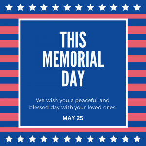 May 25 is Memorial Day