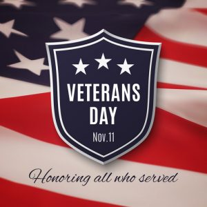 November 11 is Veterans Day.